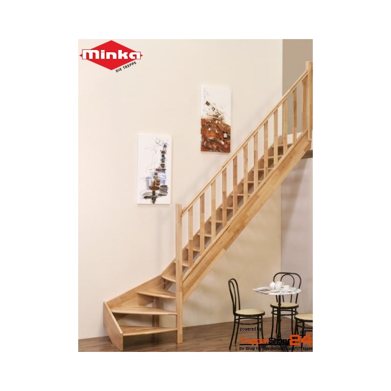 raumspartreppe classic 1 4 gewendelt buche treppenshop24. Black Bedroom Furniture Sets. Home Design Ideas