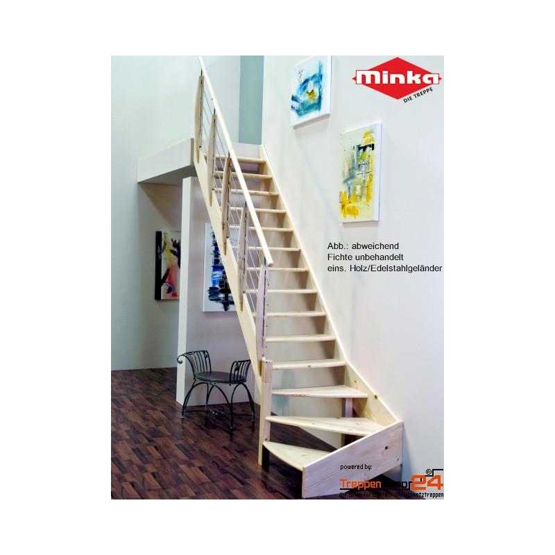 raumspartreppe classic 1 4 gewendelt fichte treppenshop24. Black Bedroom Furniture Sets. Home Design Ideas