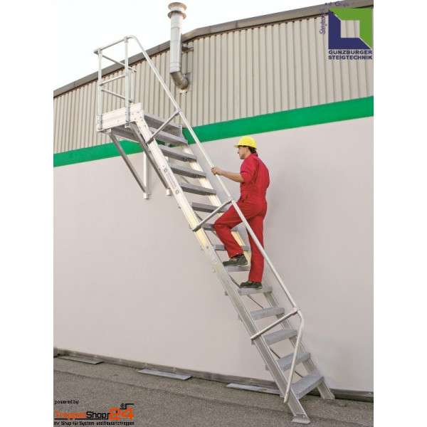 aluminium treppe 60 mit podest 14 stufen h he bis 340 cm treppensho. Black Bedroom Furniture Sets. Home Design Ideas