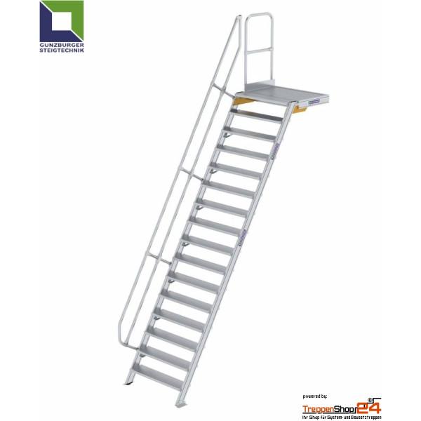 Aluminium Treppe 60 Mit Podest 15 Stufen Hohe Bis 364 Cm Treppensho