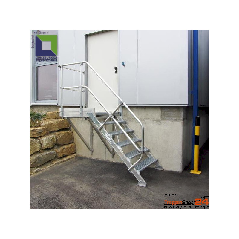 aluminium treppe 45 mit podest 4 stufen h he bis 83 cm treppenshop2. Black Bedroom Furniture Sets. Home Design Ideas