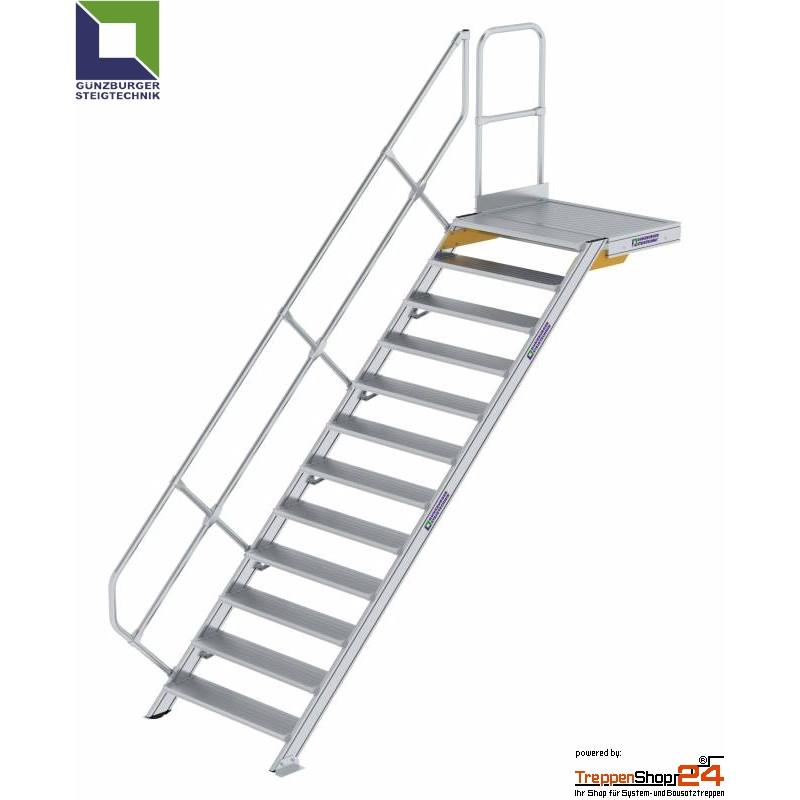 Bevorzugt Aluminium Treppe 45° mit Podest 13 Stufen Höhe bis 270 cm - TreppenSho HH55