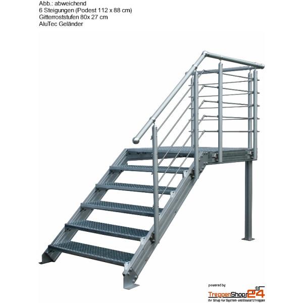 Favorit Außentreppe Alaska V3 mit Podest - TreppenShop24 IV18